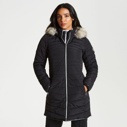 Women's Striking Long Length Quilted Luxe Ski Jacket Black